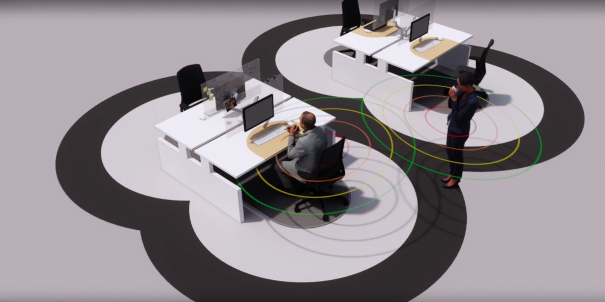 The 6 Feet Office concept reminds employees they must keep 6 ft. between people at all times.