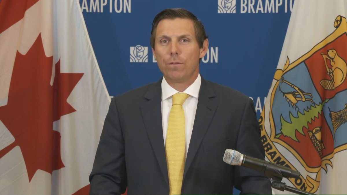 A photo of Brampton Mayor Patrick Brown at a press conference on May 27, 2020.