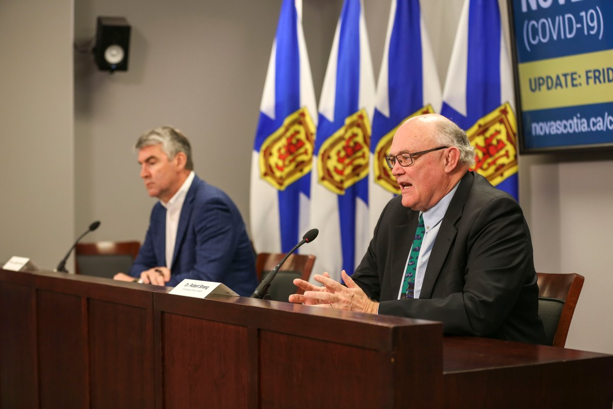 Nova Scotia Premier Stephen McNeil and chief medical officer of health Dr. Robert Strang speak at a COVID-19 press briefing on Friday, May 29, 2020.