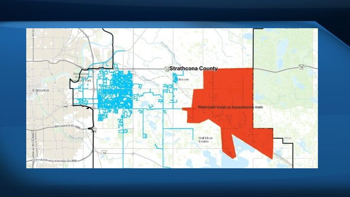 A map showing parts of Strathcona County where there was a water outage on Monday evening.