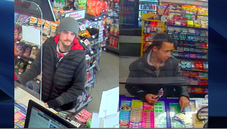 A photo of two men possibly linked to a reported robbery in London, Ont., according to police.