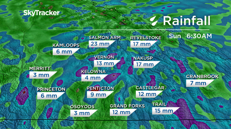Upwards of 15 millimetres of rain is possible in the Okanagan by mid-weekend.