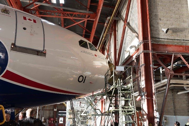 """Pictured: The Airbus CC-150 Polaris known as """"01"""" with structural damage to the nose."""