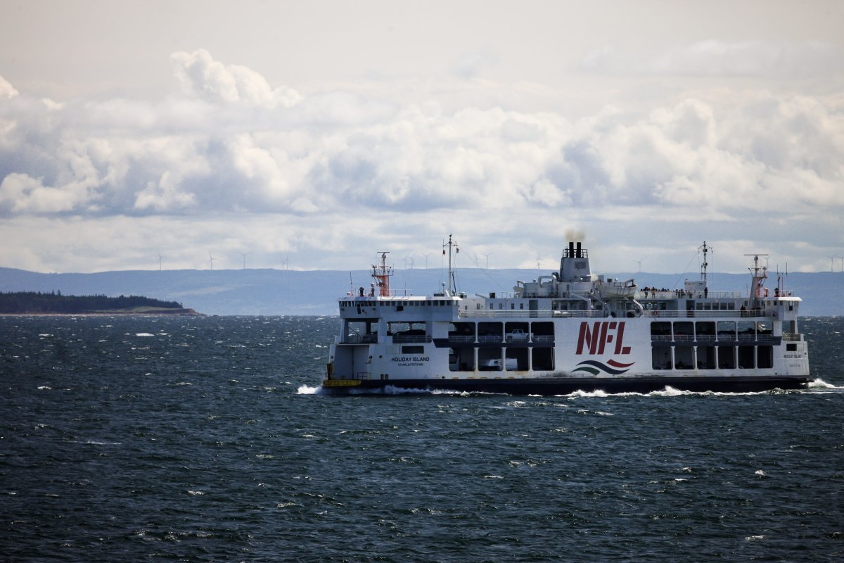 The mv Holiday Island ship of Northumberland Ferries Limited is seen crossing the Northumberland Straight between Nova Scotia and Prince Edward Island on August 26, 2017.