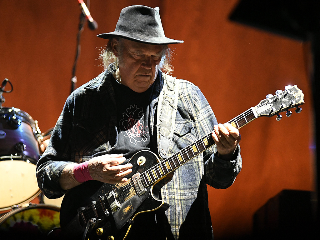 Neil Young performs at 'GoldenVoice Presents: Arroyo Seco Weekend' at the Rose Bowl in Pasadena, Calif. on June 23, 2018.