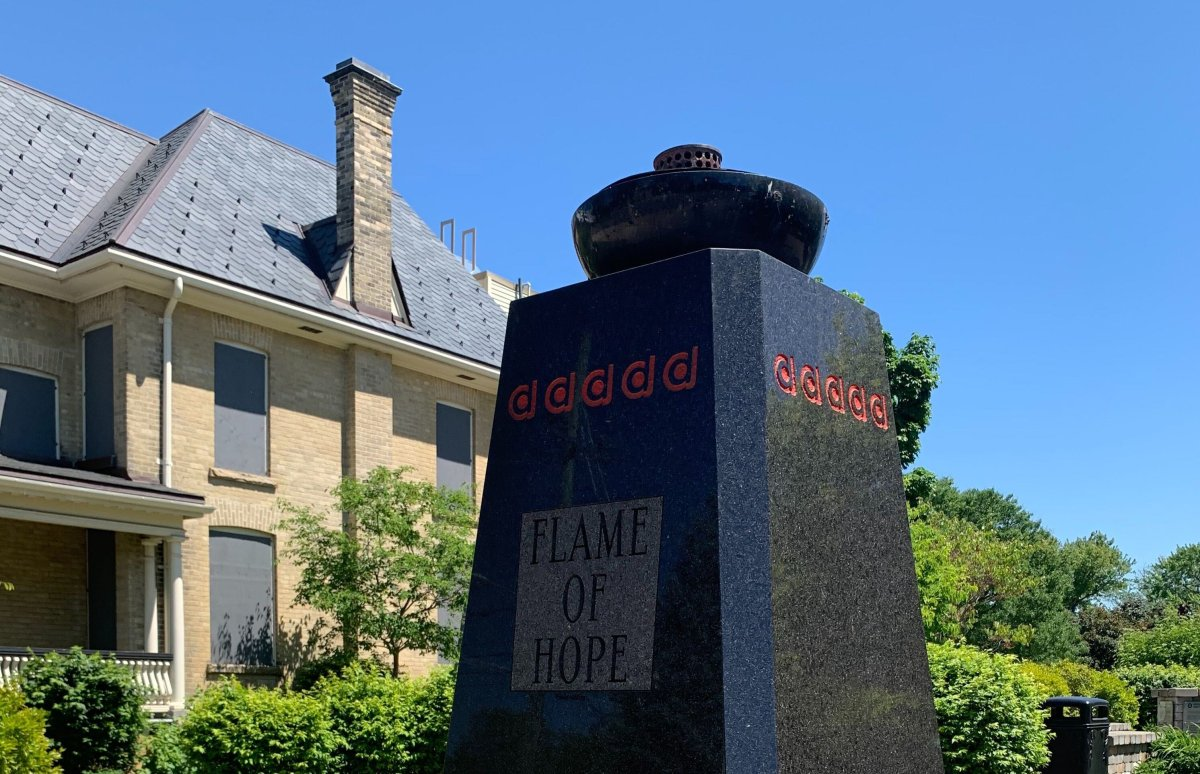 The unlit Flame of Hope at Banting House National Historic Site in London, Ont., on June 15, 2020. The flame was extinguished over the weekend by vandals.