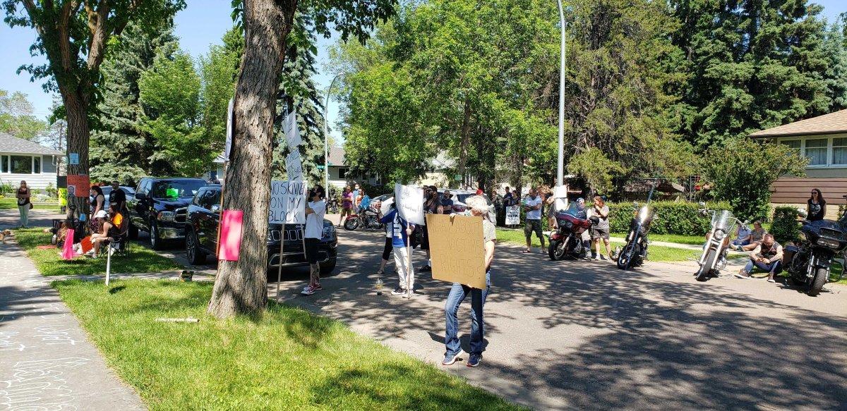 Protesters in Edmonton's McQueen neighbourhood on Saturday, June 20, 2020.