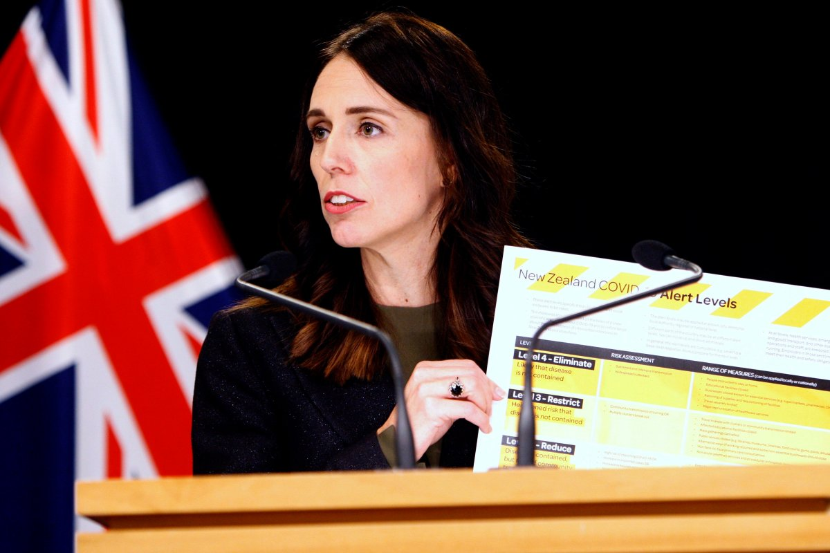 FILE - In this March 21, 2020, file photo, New Zealand Prime Minister Jacinda Ardern holds up a card showing a new alert system for COVID-19 in Wellington, New Zealand.