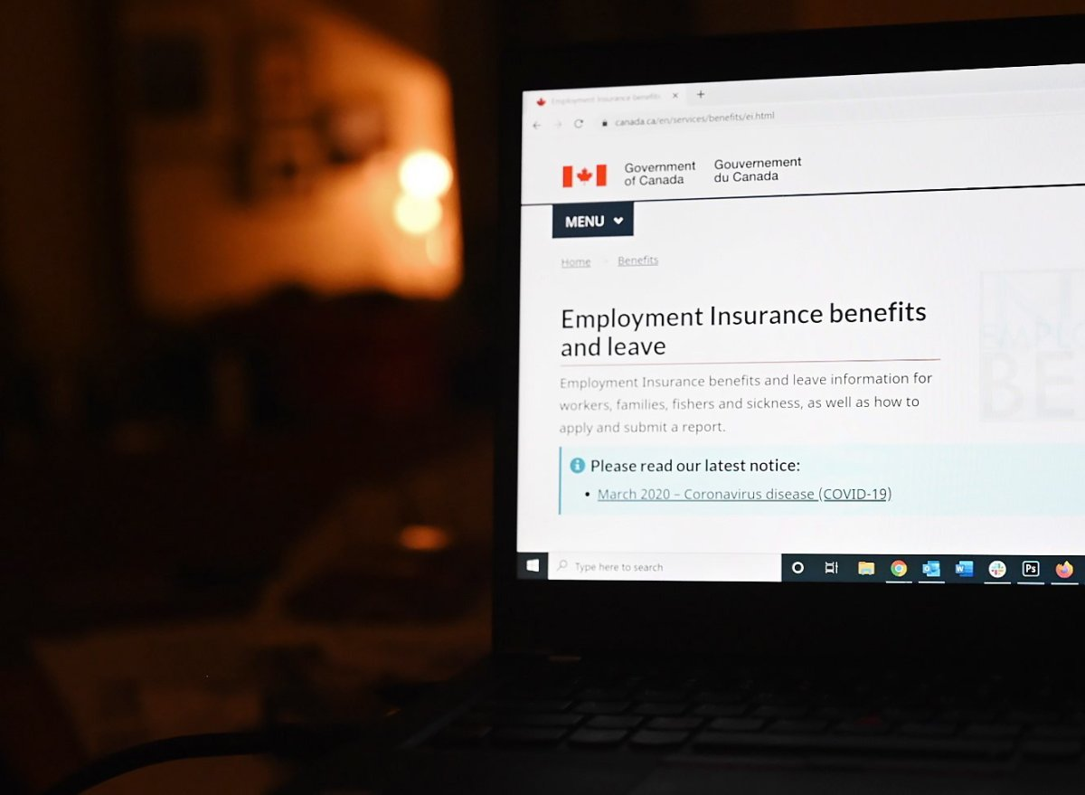 The employment insurance section of the Government of Canada website is shown on a laptop in Toronto on April 4, 2020.