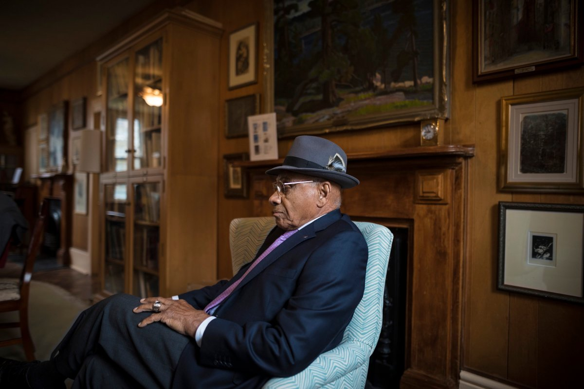 Willie O'Ree, poses for a photo during an interview in Toronto on Wednesday, May 1, 2019.