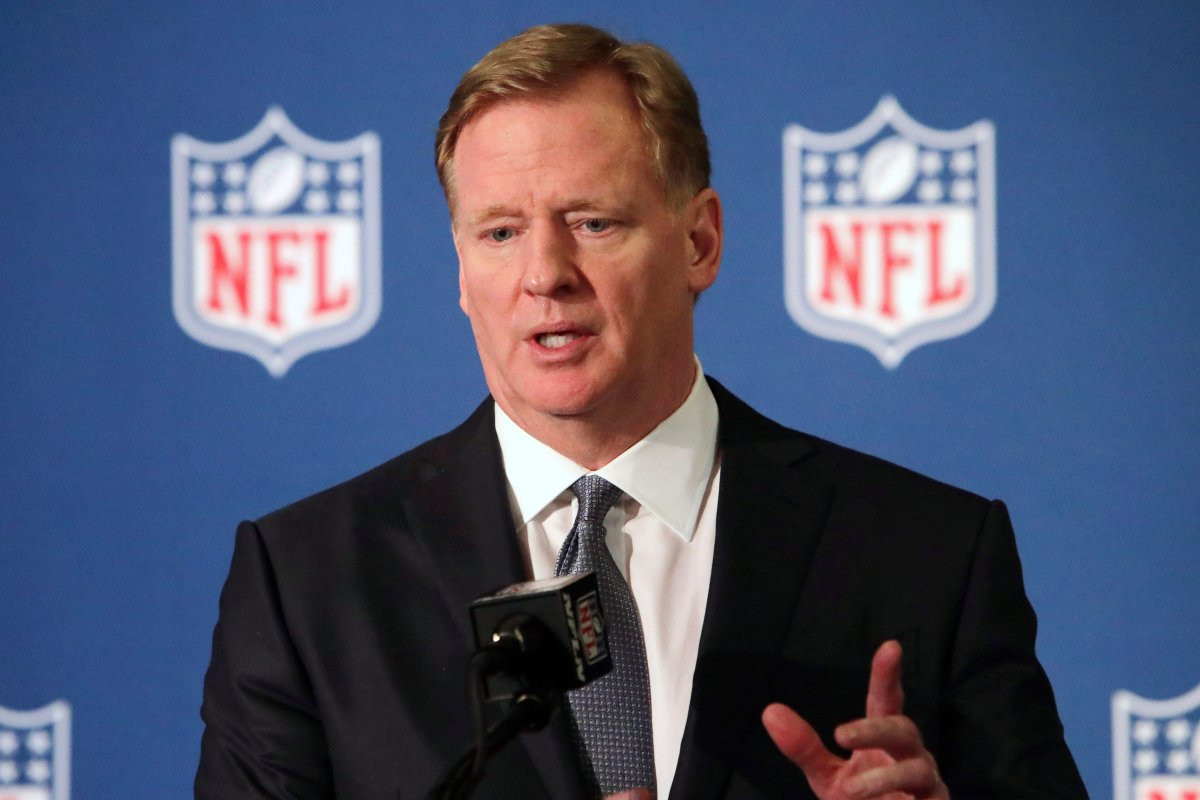 FILE - In this Dec. 12, 2018, file photo, NFL commissioner Roger Goodell speaks during a news conference in Irving, Texas.