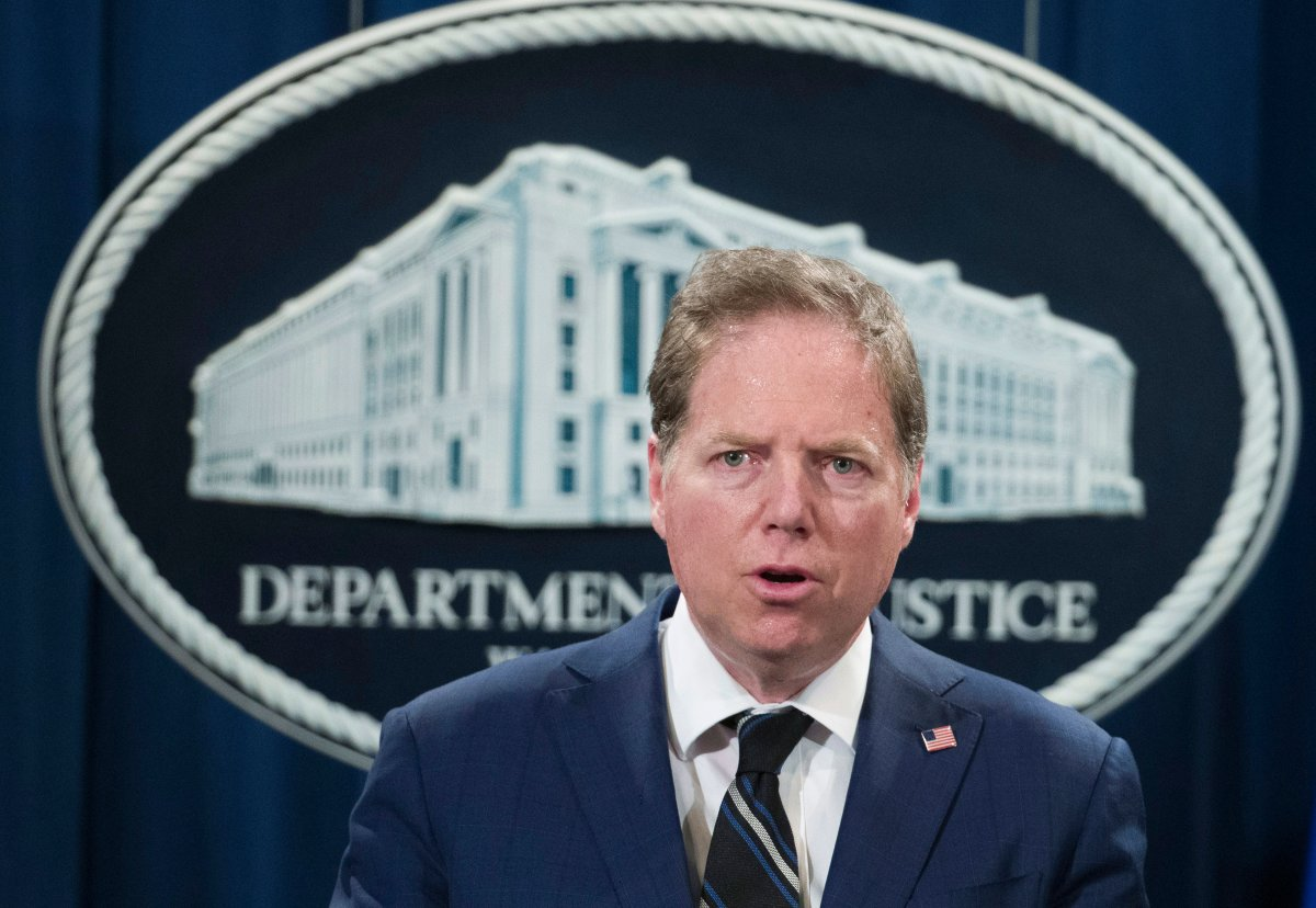 FILE - In this Oct. 26, 2018, file photo, Geoffrey Berman, U.S. attorney for the Southern District of New York, speaks during a news conference at the Department of Justice in Washington.