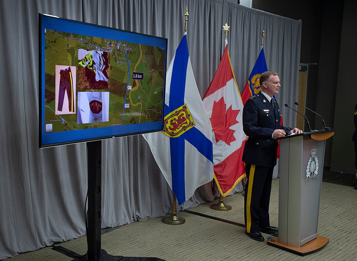 """RCMP Supt. Darren Campbell provides an update of the Nova Scotia shootings at RCMP headquarters in Dartmouth, N.S., Tuesday, April 28, 2020. Prosecutors are arguing that fully revealing the information used to obtain search warrants following the province's recent mass shooting could compromise the """"massive"""" police investigation and identify innocent parties."""