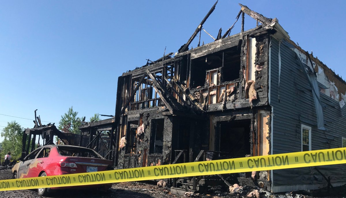 Image of the five-unit condominium building in Antigonish after it was burned.