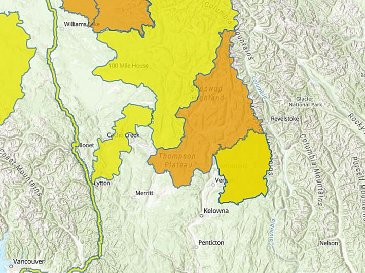 A map from the B.C. River Forecast Centre showing high streamflow advisory regions in yellow and flood watch regions in orange.