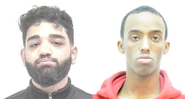 Photos showing 22-year-old Mehdi Al Khouzaii (left) and 27-year-old Mahad Sayid Haji Barakobe (right) were released by Calgary police on Thursday, June 11, 2020.