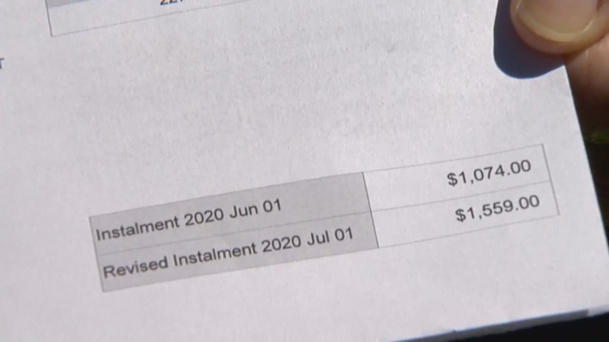 The portion of a Calgary property tax bill, pictured on June 3, 2020.