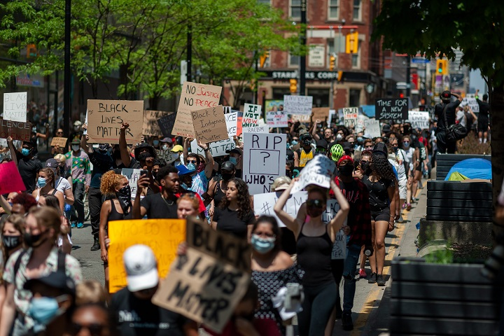 The March For Change protest against anti-black racism and police brutality. The Toronto march was one of several taking place in other Canadian cities all on June 5, 2020.