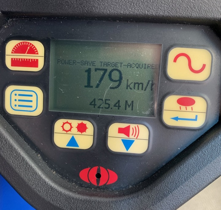 OPP's Highway Safety Division shared a photo on Twitter allegedly captured on a speed gun with a reading the vehicle was going 179 km/h.