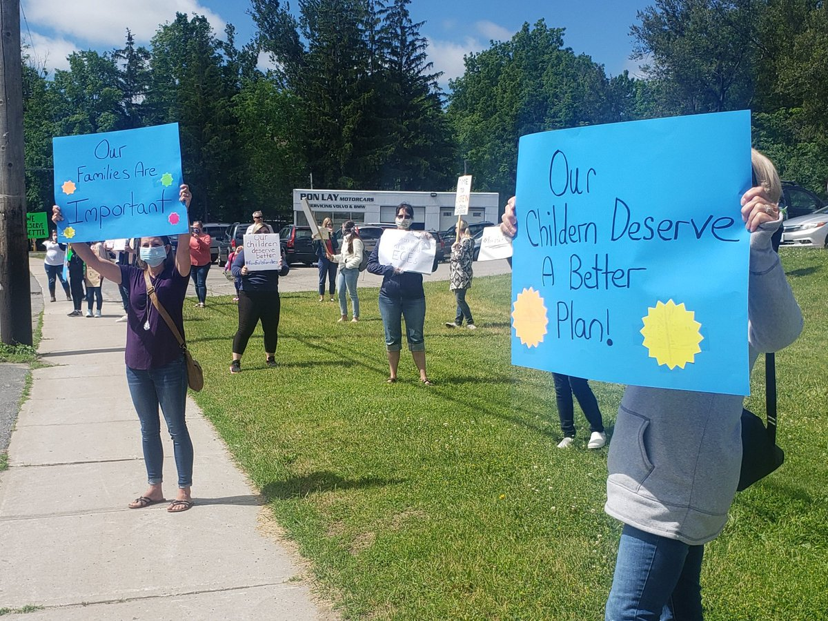 Child care workers rally outside Peterborough-Kawartha MPP Dave Smith's office on Friday morning about the short notice to reopen.