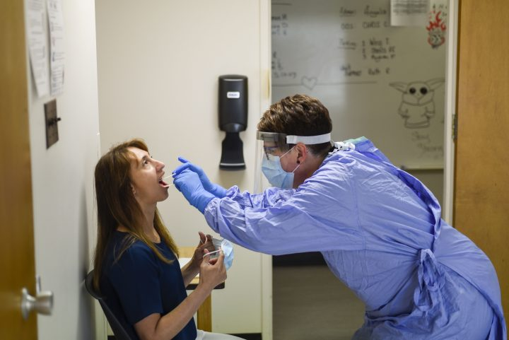 SHA employee Tracy Sanden gets tested for COVID-19.