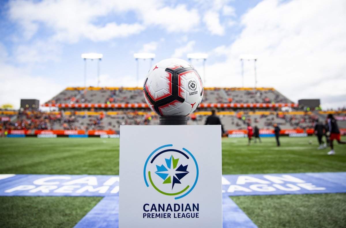 The game ball sits on a pedestal ahead of the inaugural soccer match of the Canadian Premier League between Forge FC and York 9 in Hamilton on April 27, 2019.