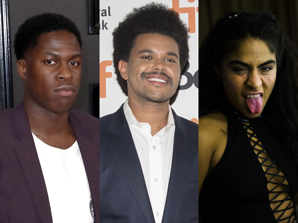 Canadian musicians (L-R) Daniel Caesar, the Weeknd and Jessie Reyez.