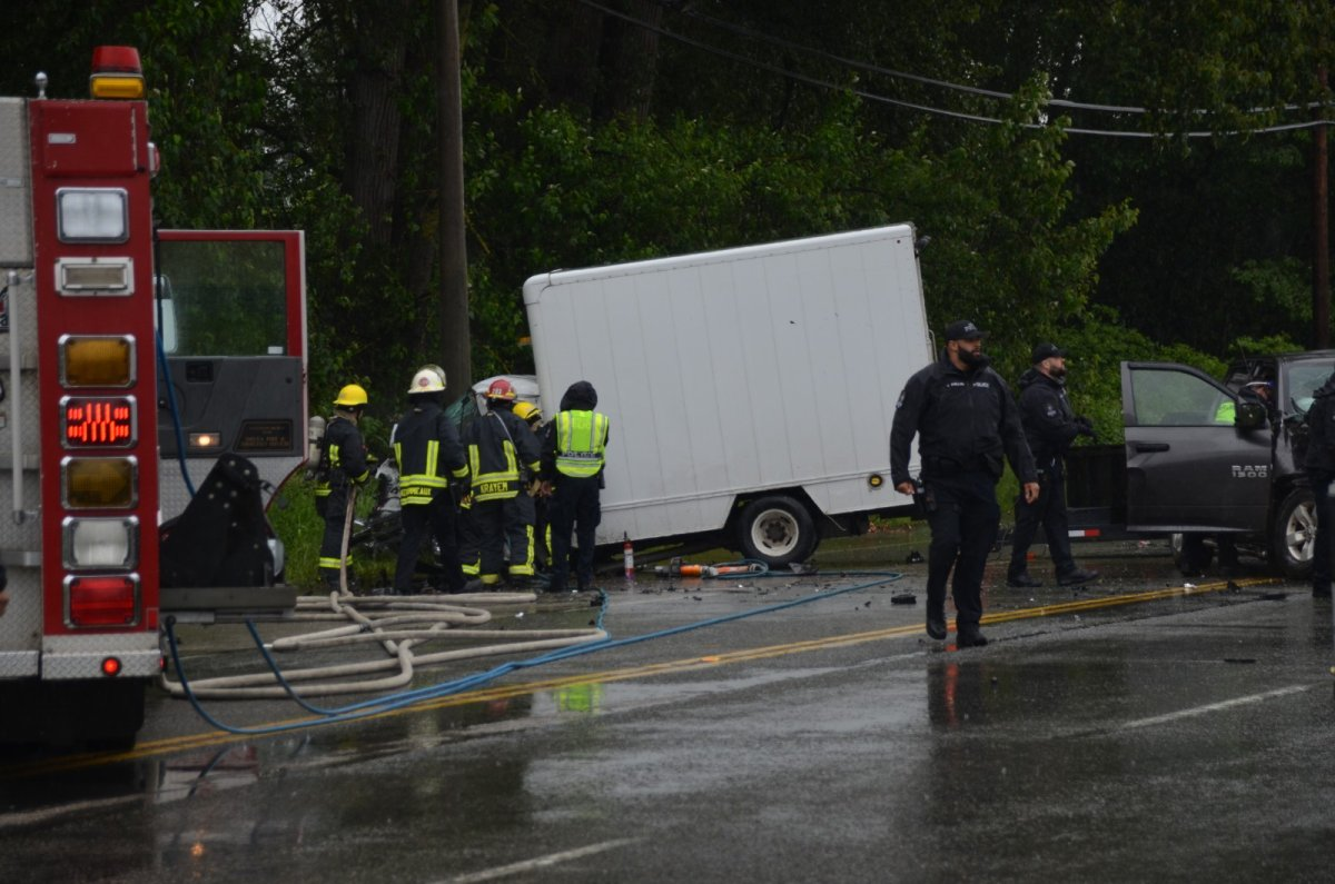 First responders on the scene of a fatal head-on collision in Delta on Friday.