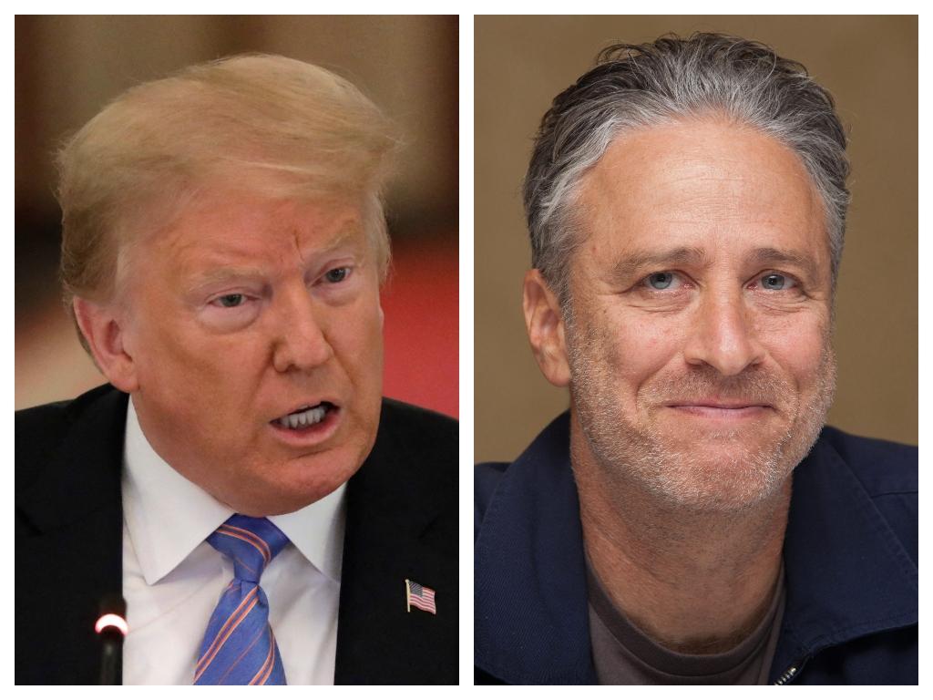 (L-R) U.S. President Donald Trump and comedian Jon Stewart.