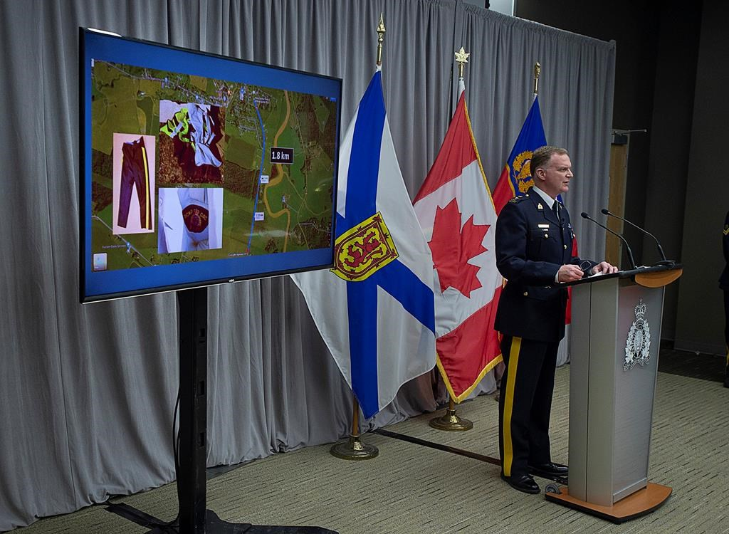 "RCMP Supt. Darren Campbell provides an update of the Nova Scotia shootings at RCMP headquarters in Dartmouth, N.S., Tuesday, April 28, 2020. Prosecutors are arguing that fully revealing the information used to obtain search warrants following the province's recent mass shooting could compromise the ""massive"" police investigation and identify innocent parties. THE CANADIAN PRESS/Andrew Vaughan."