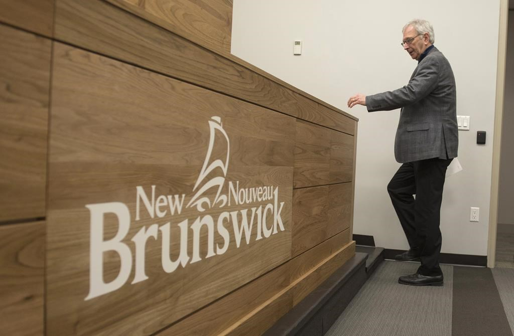 New Brunswick Premier Blaine Higgs speaks with the media in Fredericton, New Brunswick on Monday February 17, 2020.