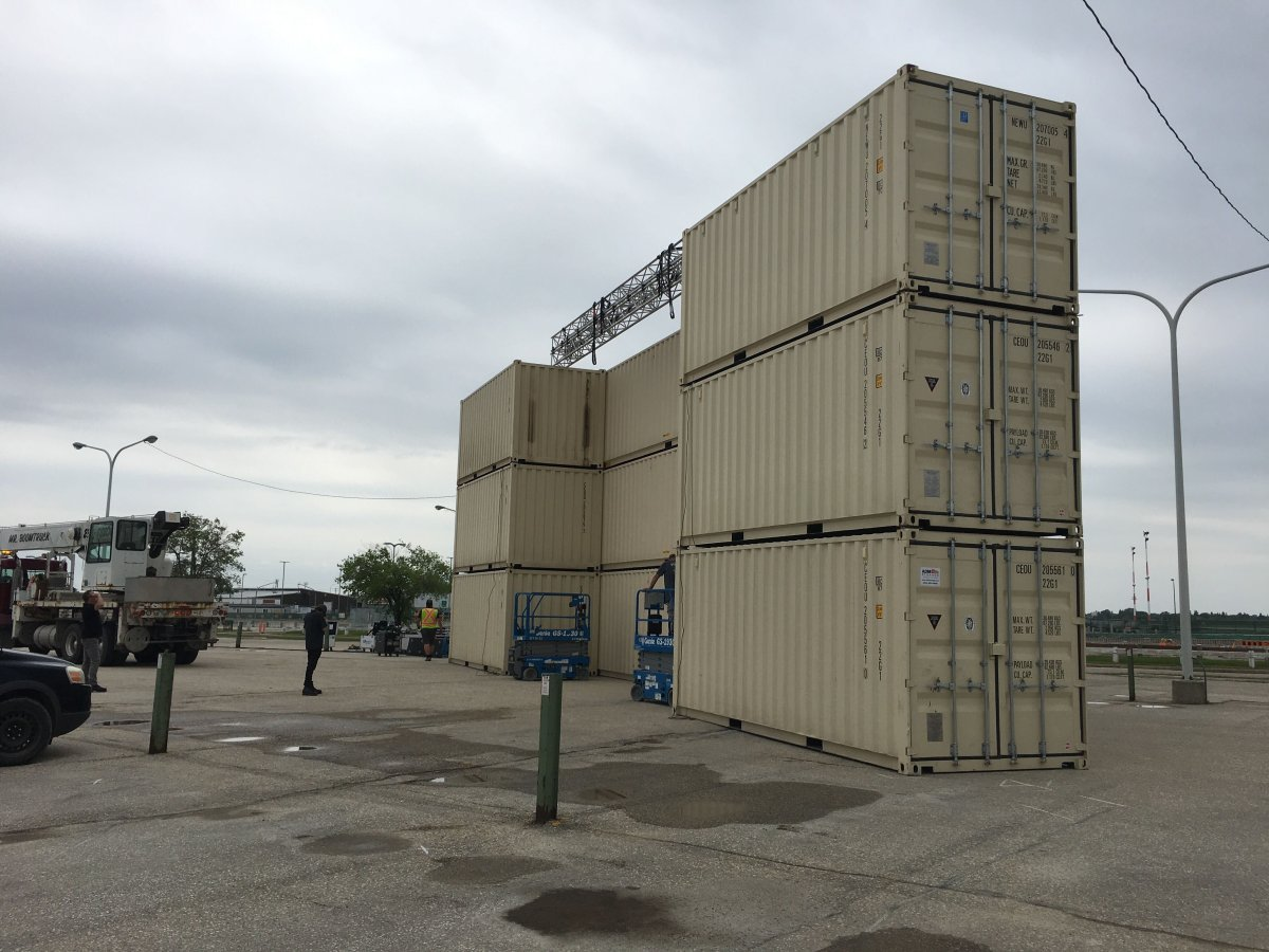 A drive-in movie screen is being installed at Winnipeg's airport.