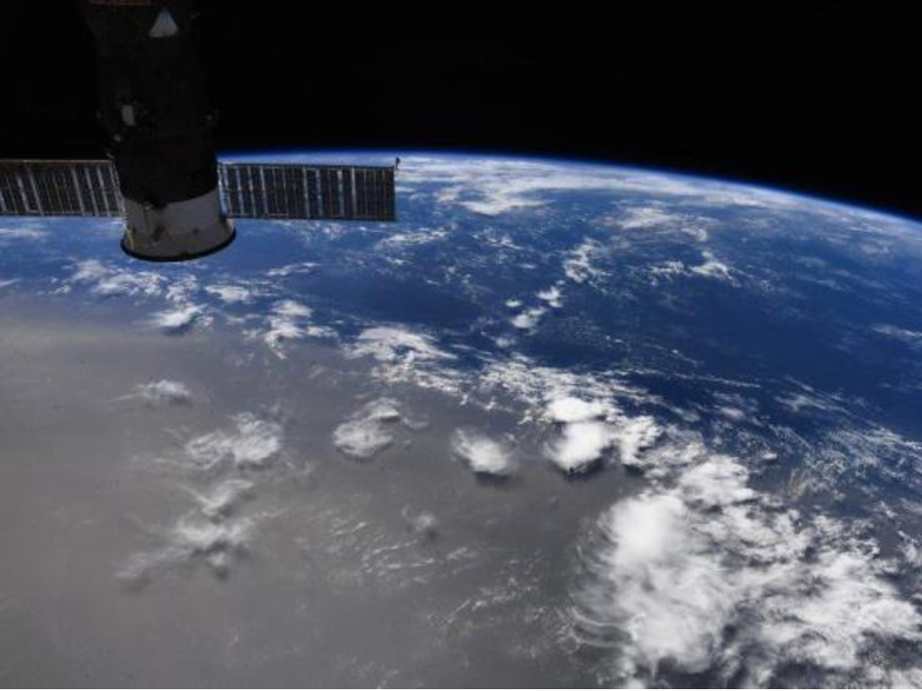 NASA astronaut Doug Hurley took this photo from the International Space Station showing a plume of dust from the Sahara desert drifting across the Atlantic Ocean.