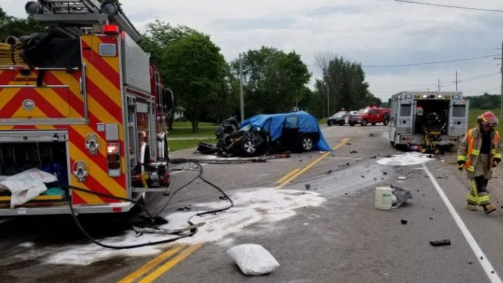 The crash, which happened on County Road 27 near Flos Road 7, was reported shortly after 11 a.m.