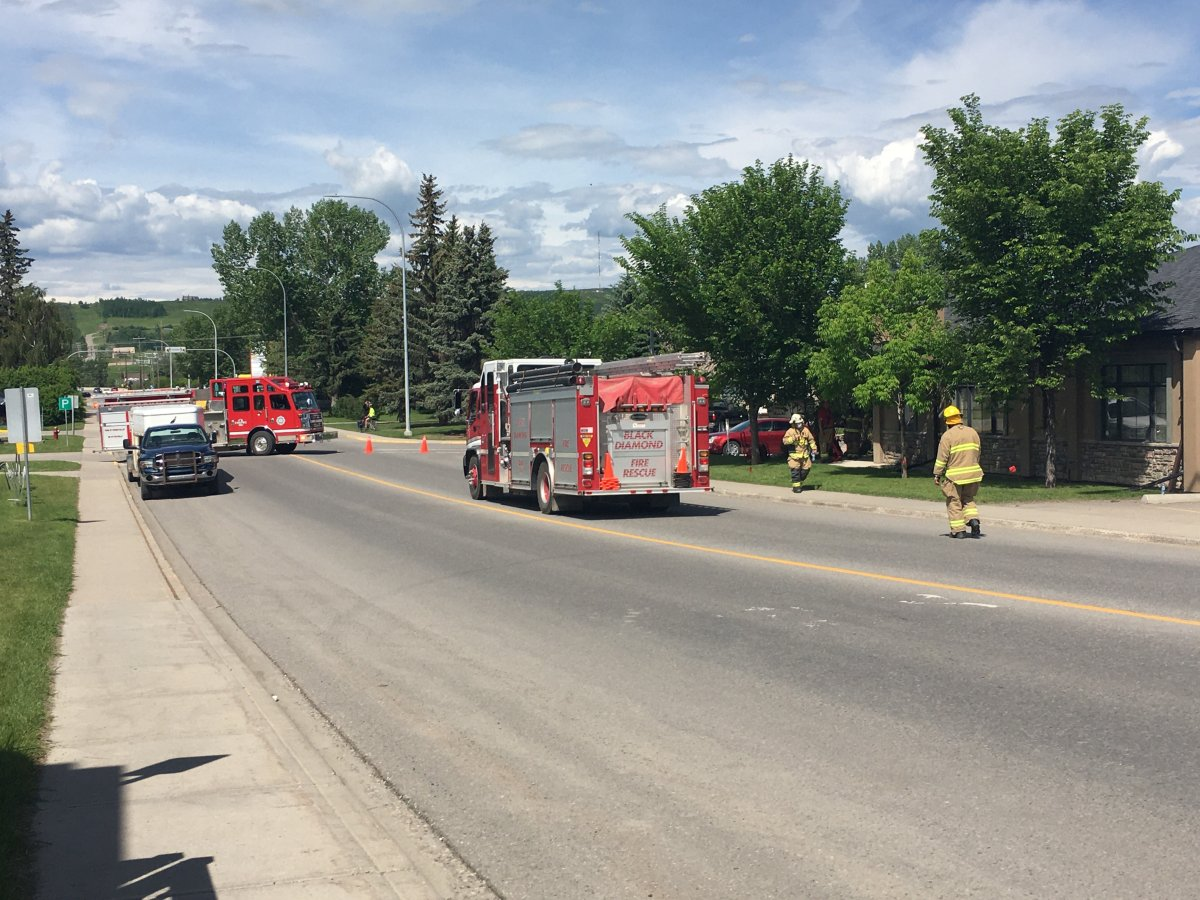 Fire officials in Black Diamond, Alta., respond to a gas leak on Saturday, June 20, 2020.