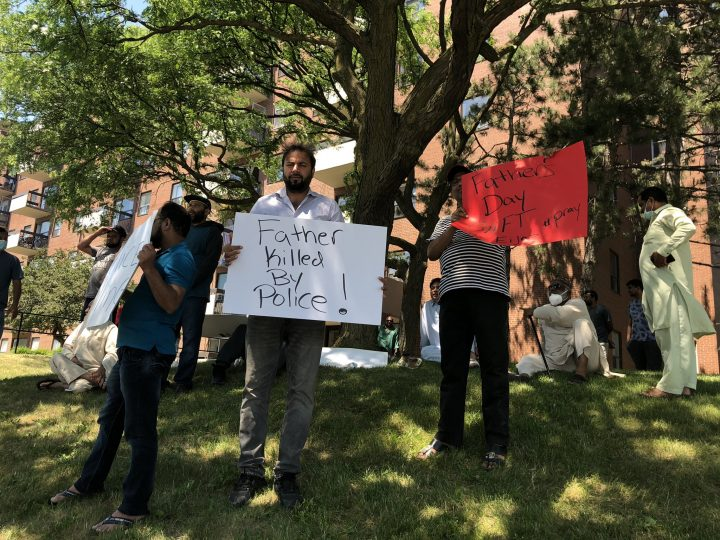 People protest the fatal police-involved shooting of 62-year-old Ejaz Choudry.