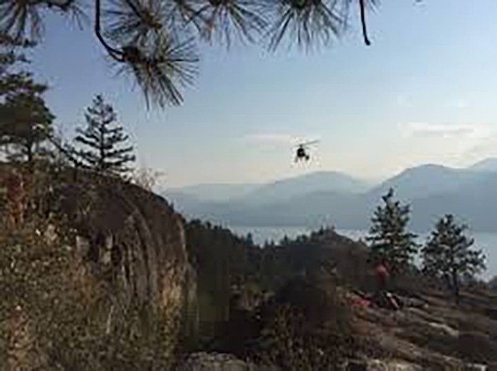 A helicopter had to be called in to the Skaha Bluffs in Penticton to rescue an injured climber on Thursday afternoon.