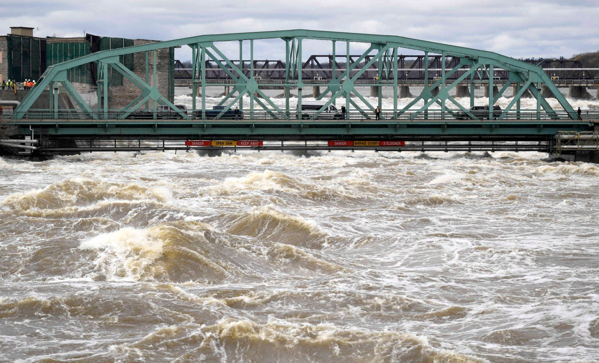 The Ottawa River is seen rising amid flooding in 2017. A new report released Monday details the possible impacts of climate change in the National Capital Region, among them warmer temperatures and more extreme weather events.