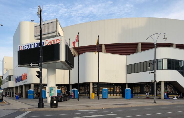 Hamilton's FirstOntario Centre has served as a shelter for homeless men during the pandemic, but work is underway to return the arena to its intended use by September.