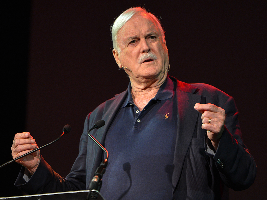 John Cleese speaking at 'Pendulum Summit,' the 'world's leading business and self-empowerment summit,' at the Dublin Convention Centre on Jan. 10, 2019, in Dublin, Ireland.