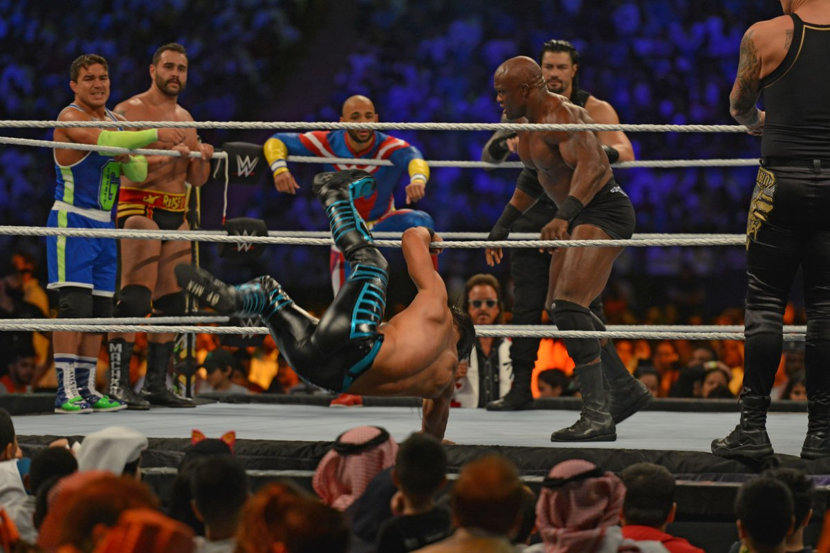 Bobby Lashley (second-right) fights against Ali during the World Wrestling Entertainment (WWE) Crown Jewel pay-per-view in Riyadh on Oct. 31, 2019.