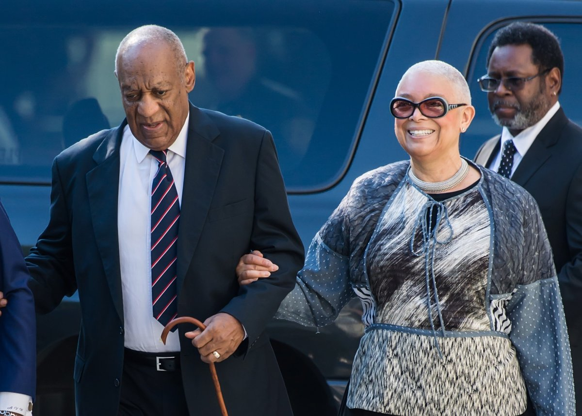 Actor Bill Cosby and wife Camille Cosby arrive at Bill Cosby's trial at the Montgomery County Courthouse on June 12, 2017 in Norristown, Pa.