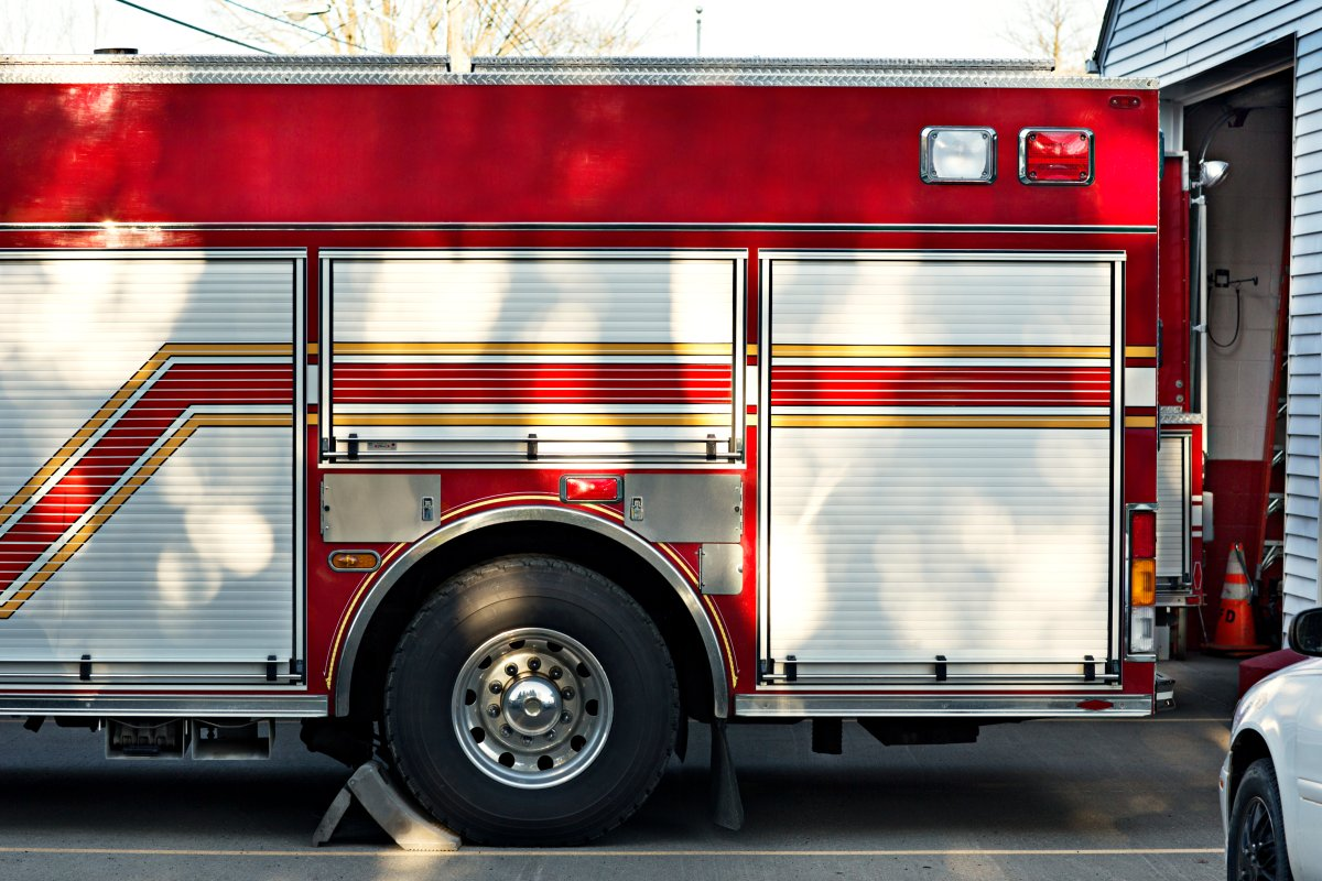 A fire truck is seen in a stock image.