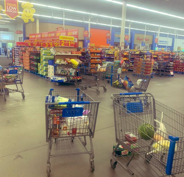 A photo taken by Trina Agopsowicz shows abandoned shopping carts in the Harbour Landing Walmart on June 12.