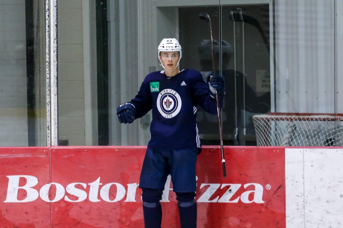 Henri Nikkanen at Winnipeg Jets development camp in June 2019.