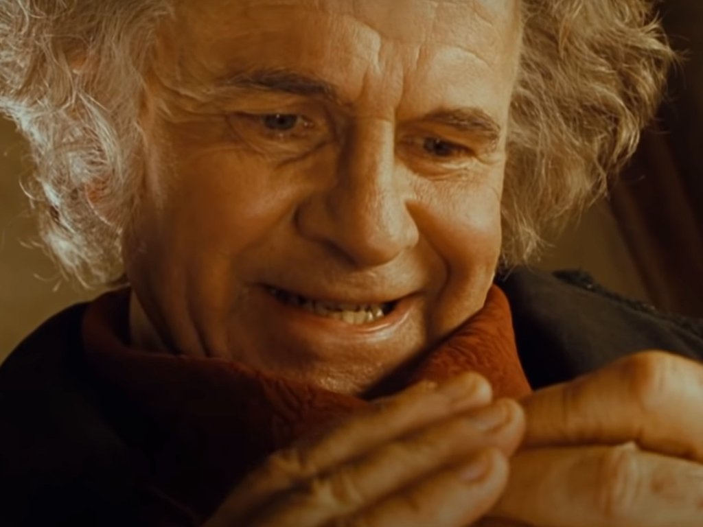 Ian Holm as Bilbo Baggins in Peter Jackson's 'The Lord of the Rings: The Fellowship of the Ring' (2001).