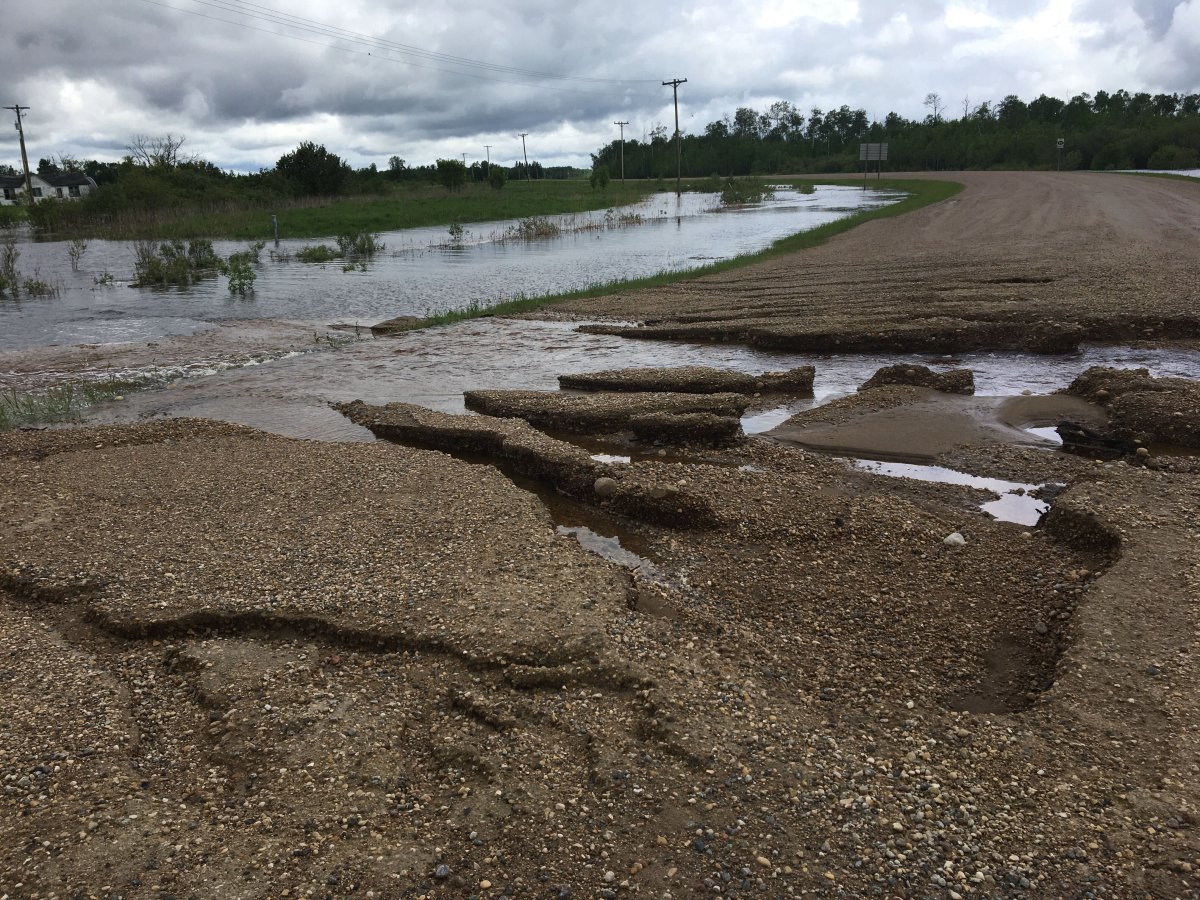Roads have washed out in the Rural Municipality of Piney, Man.