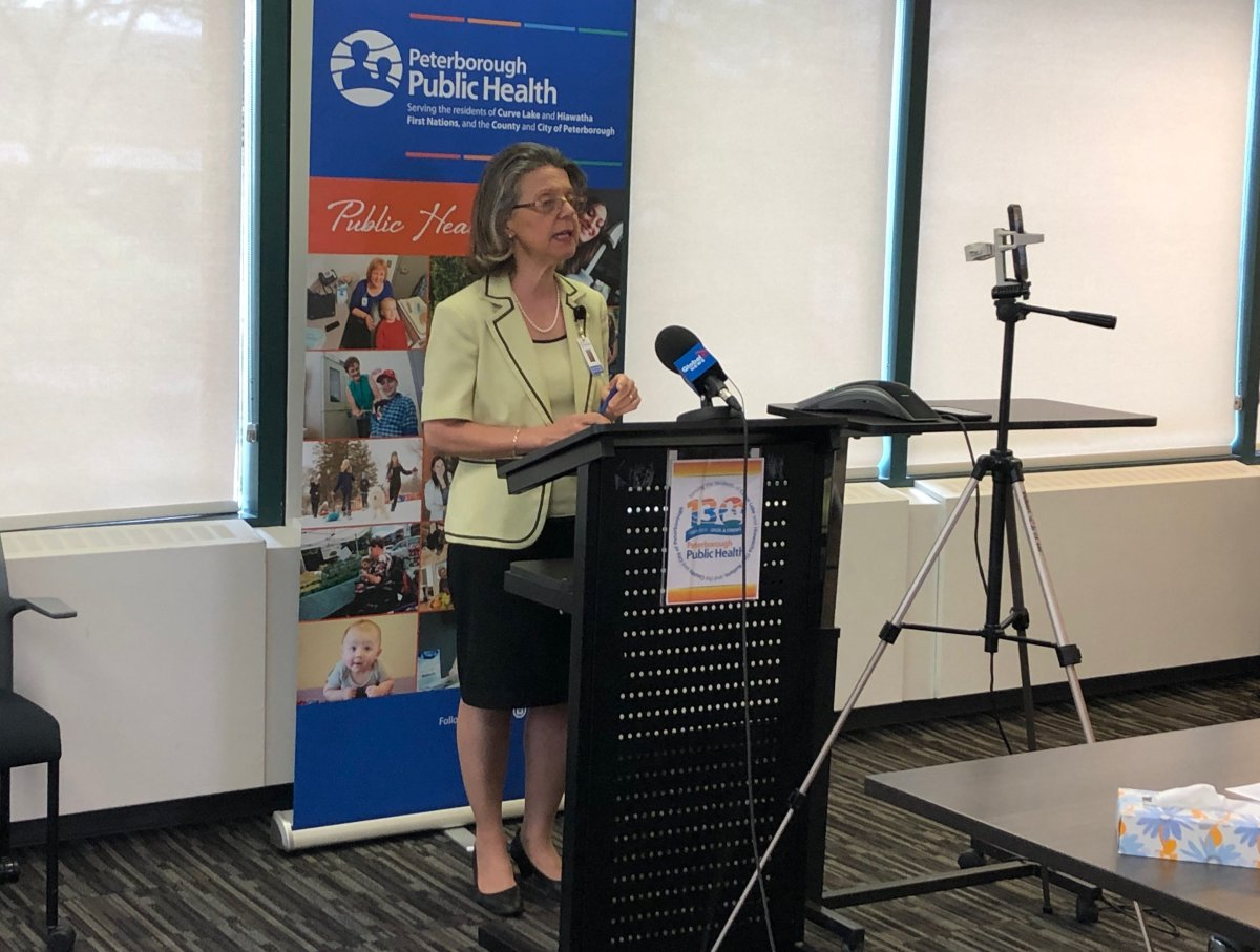 Dr. Rosana Salvaterra, medical officer of health for Peterborough Public Health, provides an update on the coronavirus pandemic during a media conference on Wednesday.