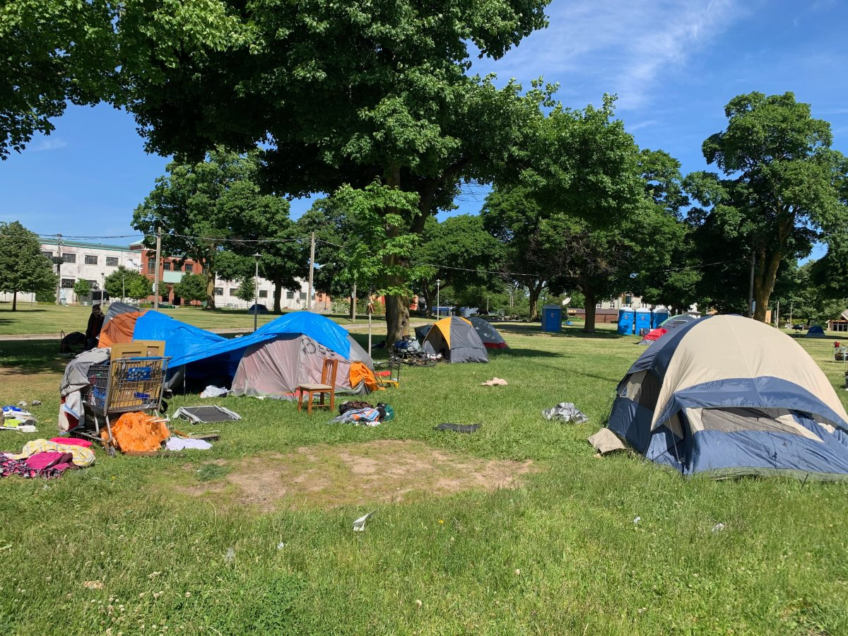 An encampment area has been set up at Queens Park in London, Ont., amid the coronavirus pandemic.
