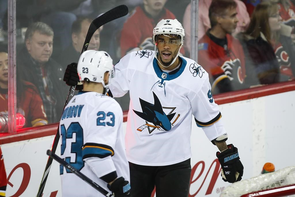 San Jose Sharks' Evander Kane, right, celebrates his goal with teammate Barclay Goodrow during second period NHL hockey action against the Calgary Flames in Calgary on February 4, 2020. THE CANADIAN PRESS/Jeff McIntosh.